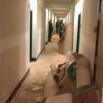 During the tear out before the new installation of wallpaper and flooring
